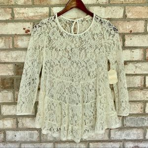 Altar'd State Lace Boho Long Sleeve Top Blouse